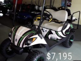Green and Black Custom Painted Golf Cart
