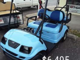 blue on blue custom golf cart